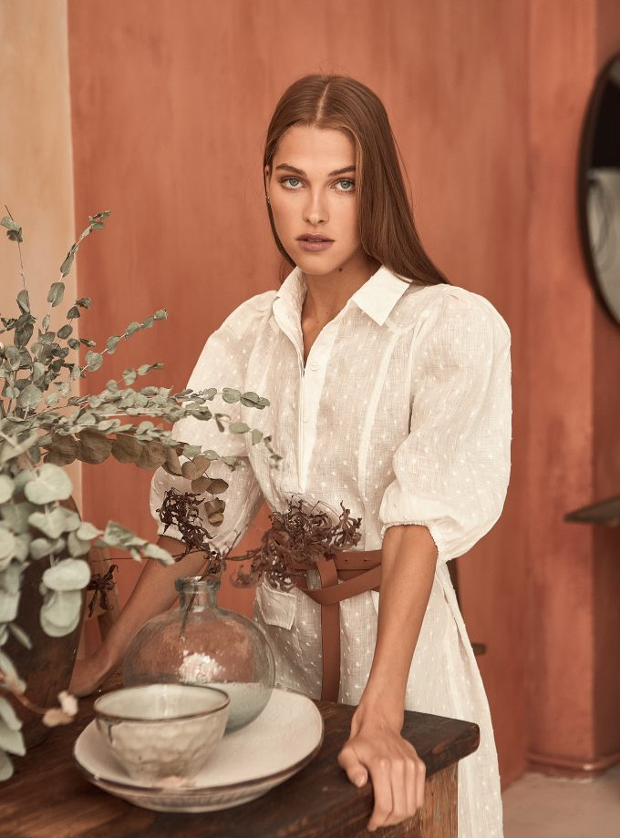 Embroidered dress Altea made from linen with cotton